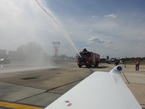 Not many small aircraft have experienced a celebratory water salute at an international airport…