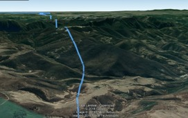 3D Google Earth screen - flying over the edge of southern Carpathian Mountains on the route Arad - Bucharest